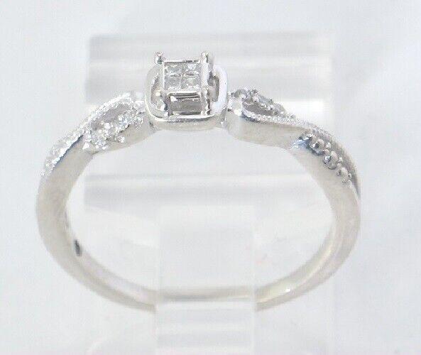 Sterling Silver Ring Circa 1980s Princess Cut CZ VJ #792