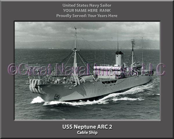 USS Neptune ARC 2 Personalized Canvas Ship Photo Print Navy Veteran Gift