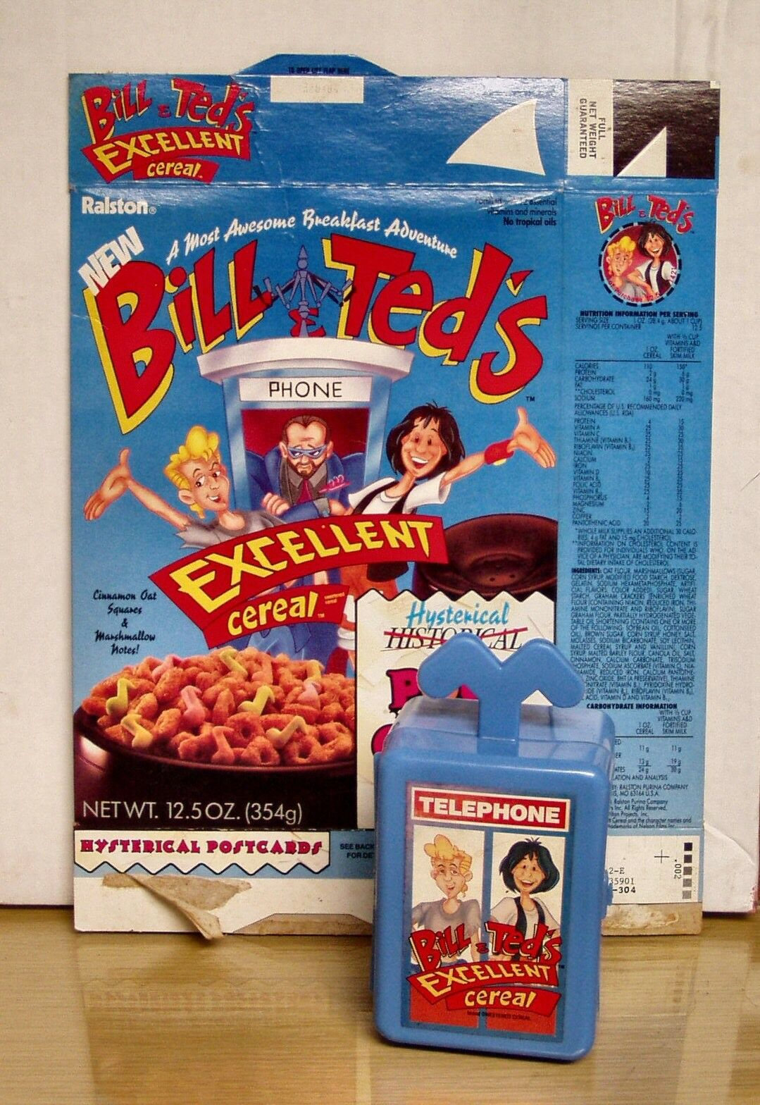 1991 Bill & Ted's Ex Adventure- Cereal Box w Phone Booth premium- NM Mint