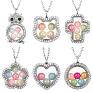 Living-Memory-Floating-Locket-Family-Charms-Pearl-Cage-Pendant-Necklace-Jewelry