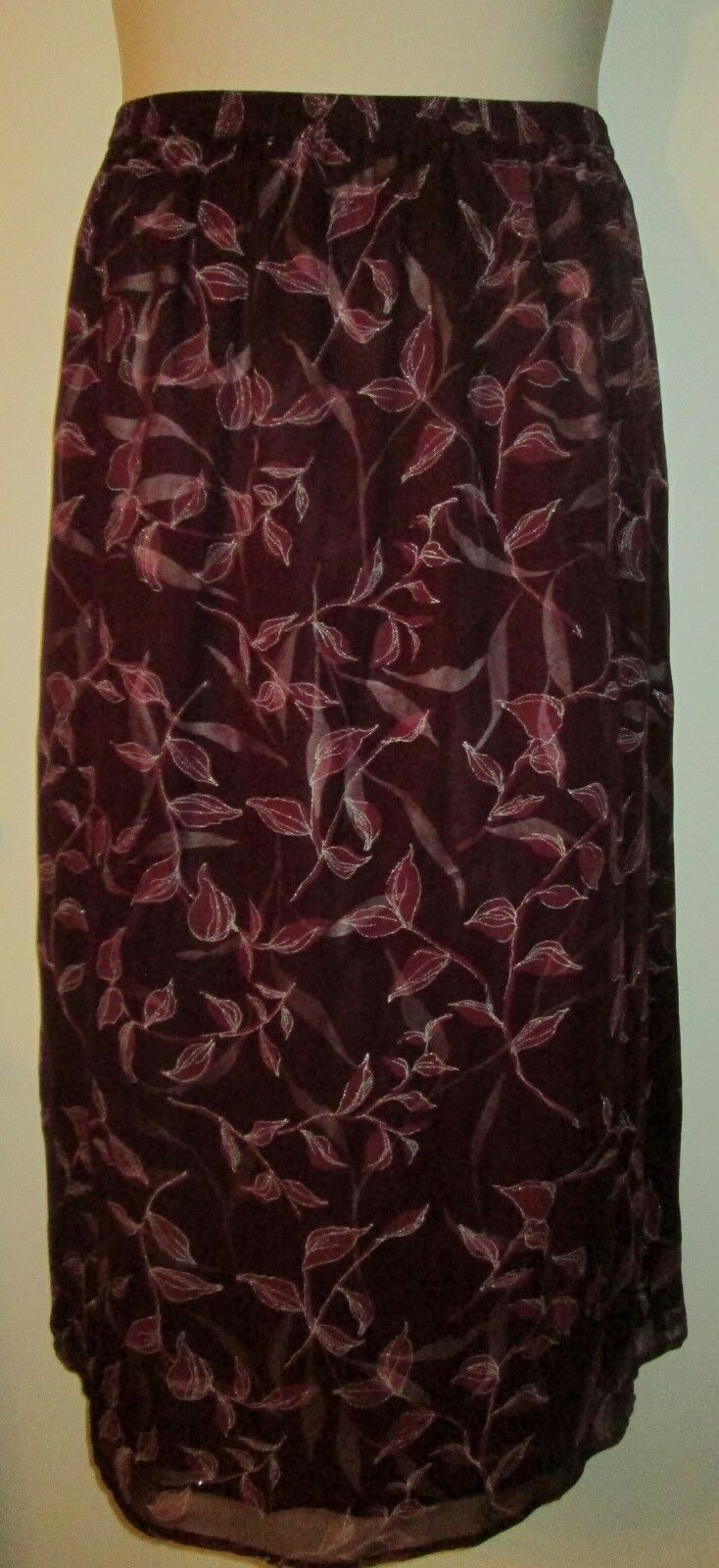 SILK LORE by Beth Terrell SKIRT L Cranberry SILK NEW Large NWT Pull On STUNNING