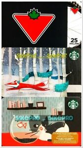 3x CANADIAN TIRE STARBUCKS FOX CHRISTMAS CAT FISH TANK COLECTIBLE GIFT CARD LOT
