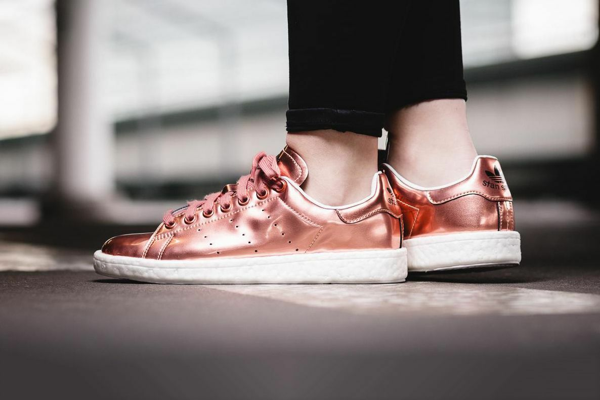 Adidas Originals Stan Smith Boost pink gold Women's 8.5 shoes Sneakers Trainers