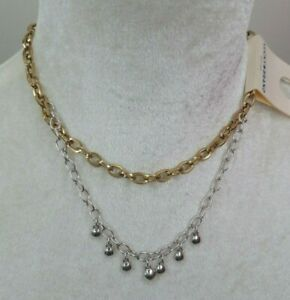 09af8b9d249ca Details about New Authentic Lucky Brand Gold & Silver Double Chain Choker  Necklace Ships Free