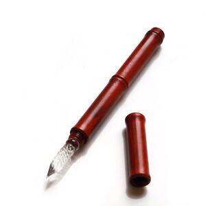 Retro-Bamboo-Style-Wooden-Dip-pen-Pen-Cap-Glass-Pen-Nib