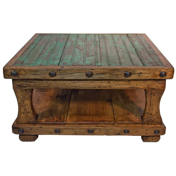 Square Coffee Table With Shelf Brazilian Pine Rustic