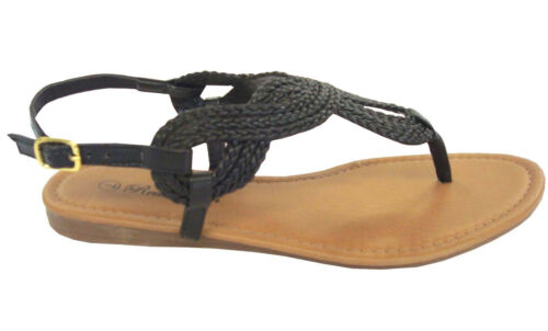5-10 WHOLESALE LOT 24 prs Ladies Braided Gladiator Flat Sandal T-Strap-8016Black