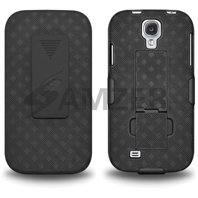 Amzer Shell Case + Holster + Belt Clip Stand Samsung GALAXY S4 GT-I9500 - Black