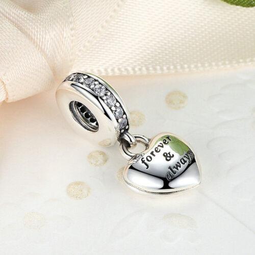 Coeur Authentique 925 Sterling Silver Clear Zircone Cubique Forever /& toujours Charm Fit Bracelet
