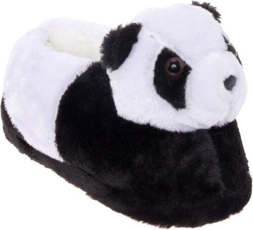 Silver Lilly Panda Bear Plush Animal House Slippers w// Comfort Foam Support