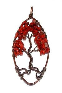 Tree of Life Red Wine Jasper Copper Necklace