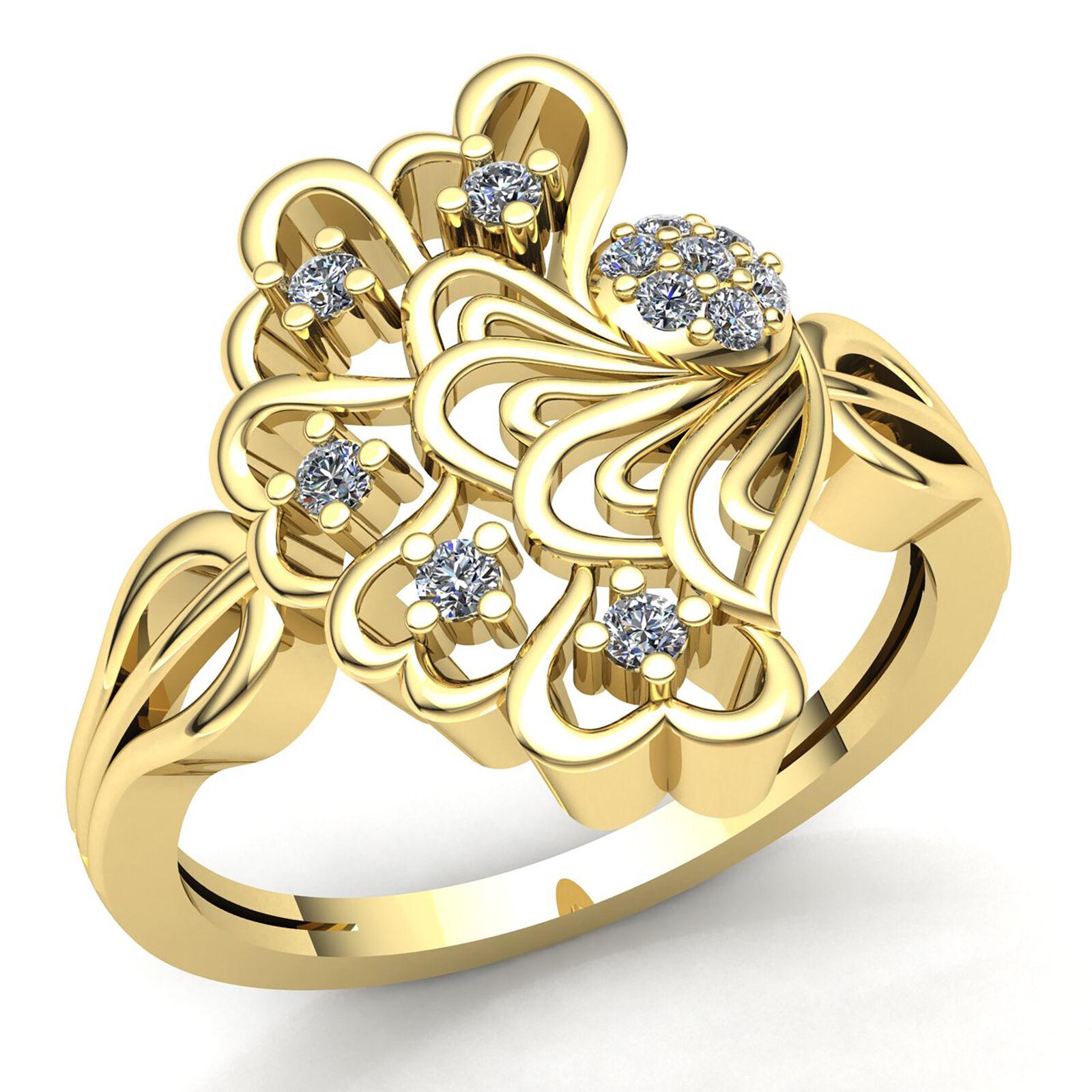 Genuine 0.2ctw Round Cut Diamond Ladies Fancy Heart Anniversary Ring 14K gold