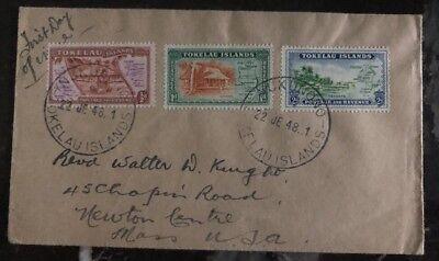Australien, Ozean. & Antarktis Tokelau Ernst 1948 Tokelau Island Ersttagsbrief Fdc Zu Newton Ma Usa