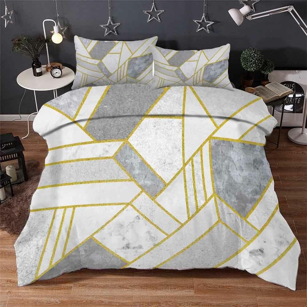 grau Rectangle 3D Printing Duvet Quilt Doona Covers Pillow Case Bedding Sets