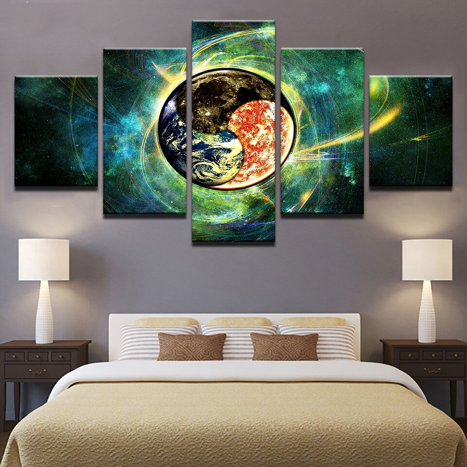 Nature Elements Earth Fire Ether 5 Panel Canvas Print Wall Art