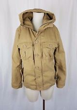 Legendary Goods Fleece Plaid Flannel Lined Hooded Canvas Cargo Jacket Womens S