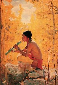 Song-of-the-Aspen-by-Bert-Phillips-Native-American-Flute-Player-Western-13x19
