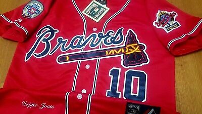 san francisco 201ff ad55e New wTag Atlanta Braves #10 Chipper Jones Throwback 2patches sewn RED  Jersey HOF   eBay