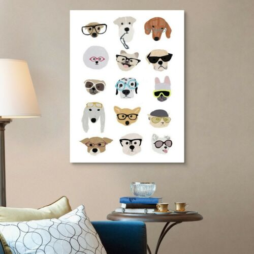 Dog Home Decor Dogs with Glasses Canvas Wall Art Print