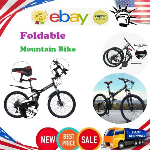 Details about  /26in Foldable Outroad Mountain Bike 21-Speed Double Disc Brake Bicycles MTB Bike