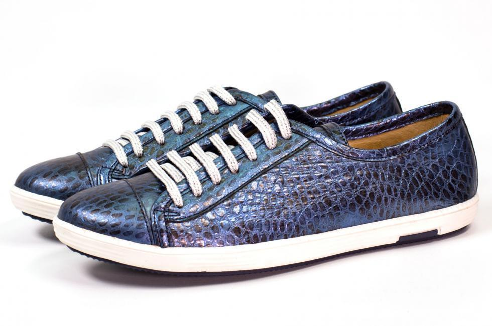 NEU TARA blau 42 Damen Schnürer Sneaker - TAPODTS GR. 42 blau - Metallic 83cfd7