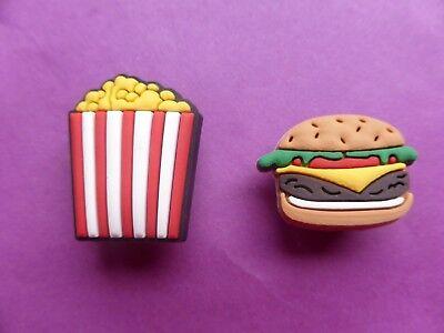 2 Burger & Papas Fritas Jibbitz Crocs zapato encantos pulsera de pelo Telar banda Cake Toppers
