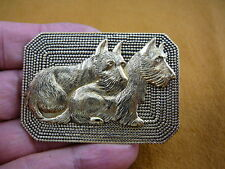 (B-DOG-270) pair of Scottish terrier two dogs rectangle pin pendant Scottie dog