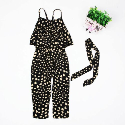 2pcs Kids Baby Girl Summer Clothing Sleeveless Polka Dot jumpsuits belt Outfit