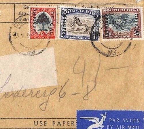 CA410 1950 S.Africa OFFICIAL OVERPRINT High Rate Airmail Printed Matter Austria