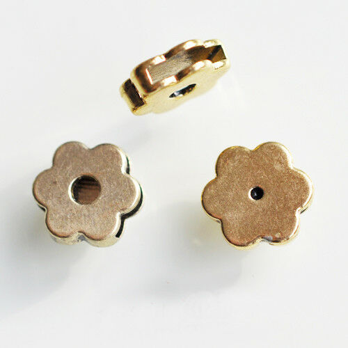 3 unidades schiebeperle diacharme Blume 12mm para cuero-pulseras de oro cobre colores