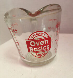 Vintage Anchor Hocking Oven Basics 1 Cup Glass Measuring Cup Red Print