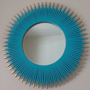 Details About Handmade Sunburst Round Wall Mirror 23 Seaside And Gold Color