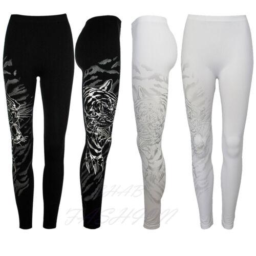 New Ladies Womens Patterned Leggings Tiger print  Black   leggings
