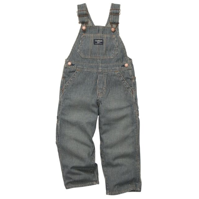 New OshKosh Boy Denim Blue Jean Overalls Hickory Stripe NWT 18m 24m 2t 3t 4t 5t