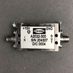 Herotek-RF-MicrowavePower-Amplifier-A2022-300-SMA-f-15VDC-S-N-204307