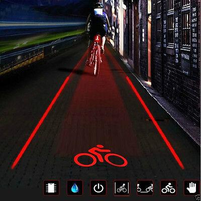 Fahrrad Laser Rücklicht 5 LED&2 Laser Beleuchtung Fahrradlampe mit Fahrrad-Logo
