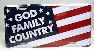 God Family Country License Plate Car Truck Tag Vehicle Auto USA American Flag