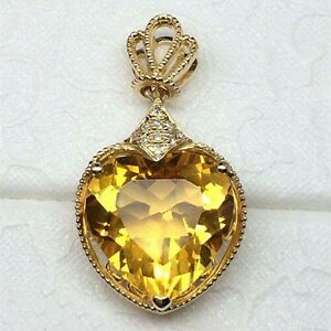 Natural diamond 489ct citrine heart pendant necklace solid 14k image is loading natural diamond 4 89ct citrine heart pendant necklace mozeypictures Image collections