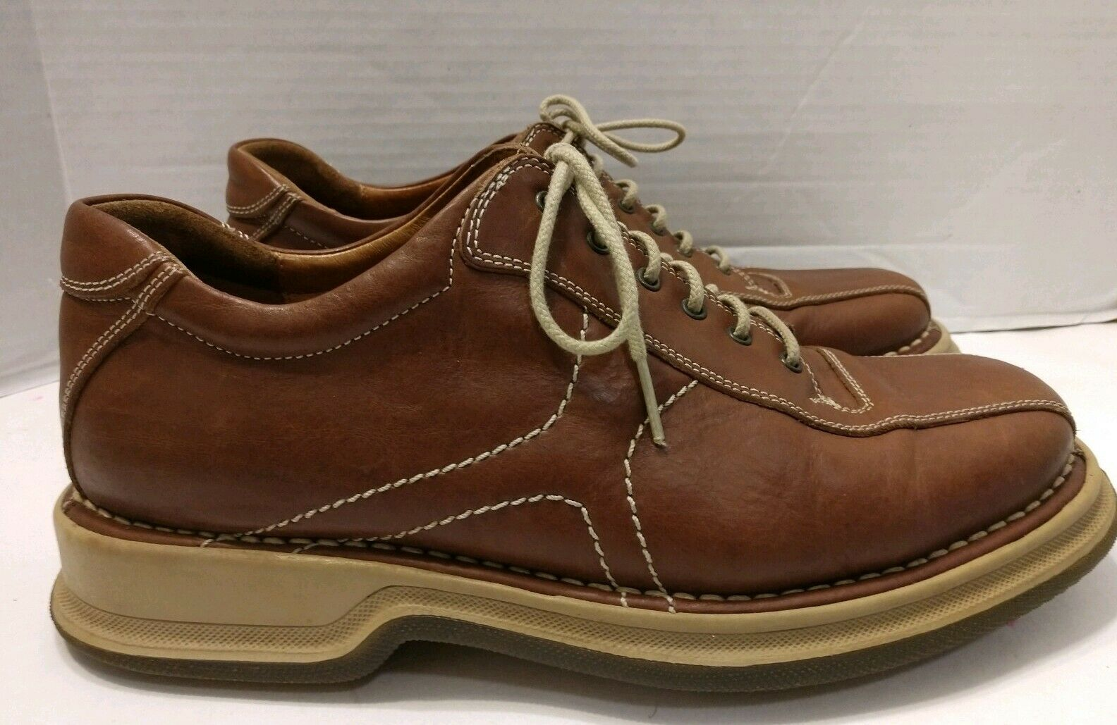 Johnston & Murphy Mens Sz 9 braun Leather Oxfords schuhe Handmade  20-0808