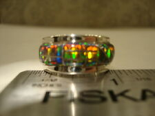 CLASSIC 6 WIDE BLACK INLAID FIRE OPAL LADIES RING $299.00 Sterling Silver 925
