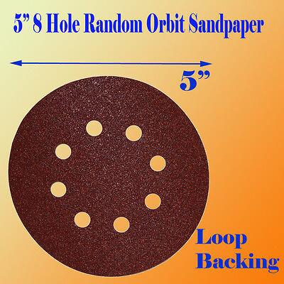 """100X 5""""/ 6"""" 8 Hole Sanding Disc Sandpaper Velcro Hook & Loop 60 120 240 320 Grit"""