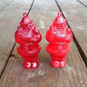 2-Original-SANTA-CLAUS-Refillable-PLASTIC-Candy-Xmas-Ornament-1950s-NOS