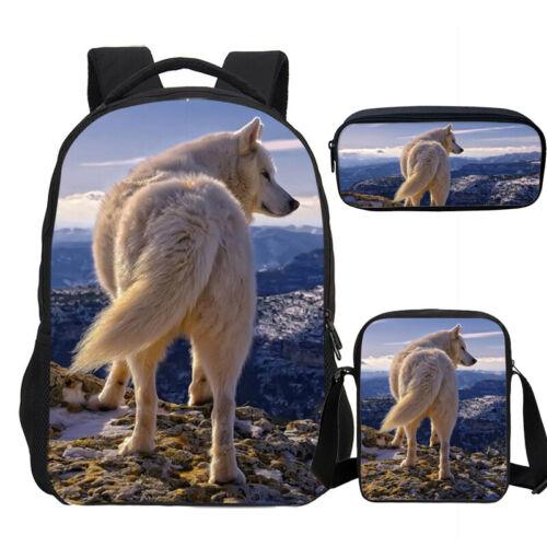S//3 Fantasy Wild Wolf Kids Large School Backpacks Shoulder Bag Pencil Case Lot