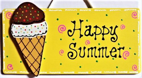 ICE CREAM CONE Happy Summer SIGN Wall Plaque Home Deck Backyard Porch Pool Patio