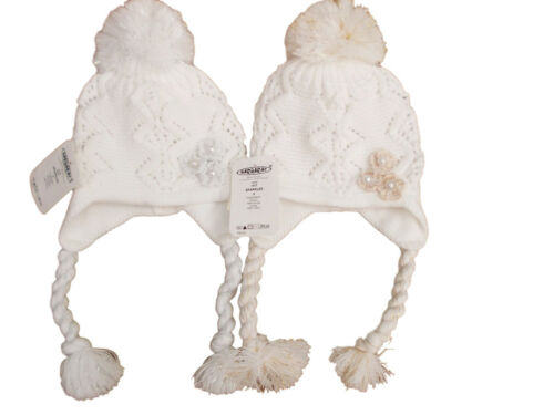 BNWT girls white winter gold or silver flower bobble pom pom hat 12m to 3 Years