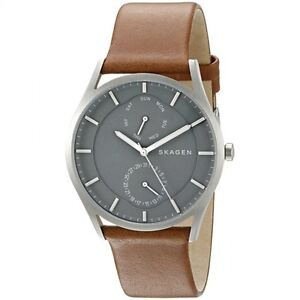 c7645a4ad75bc5 Image is loading Skagen-SKW6264-Grey-Dial-Brown-Leather-Strap-Multifunction-