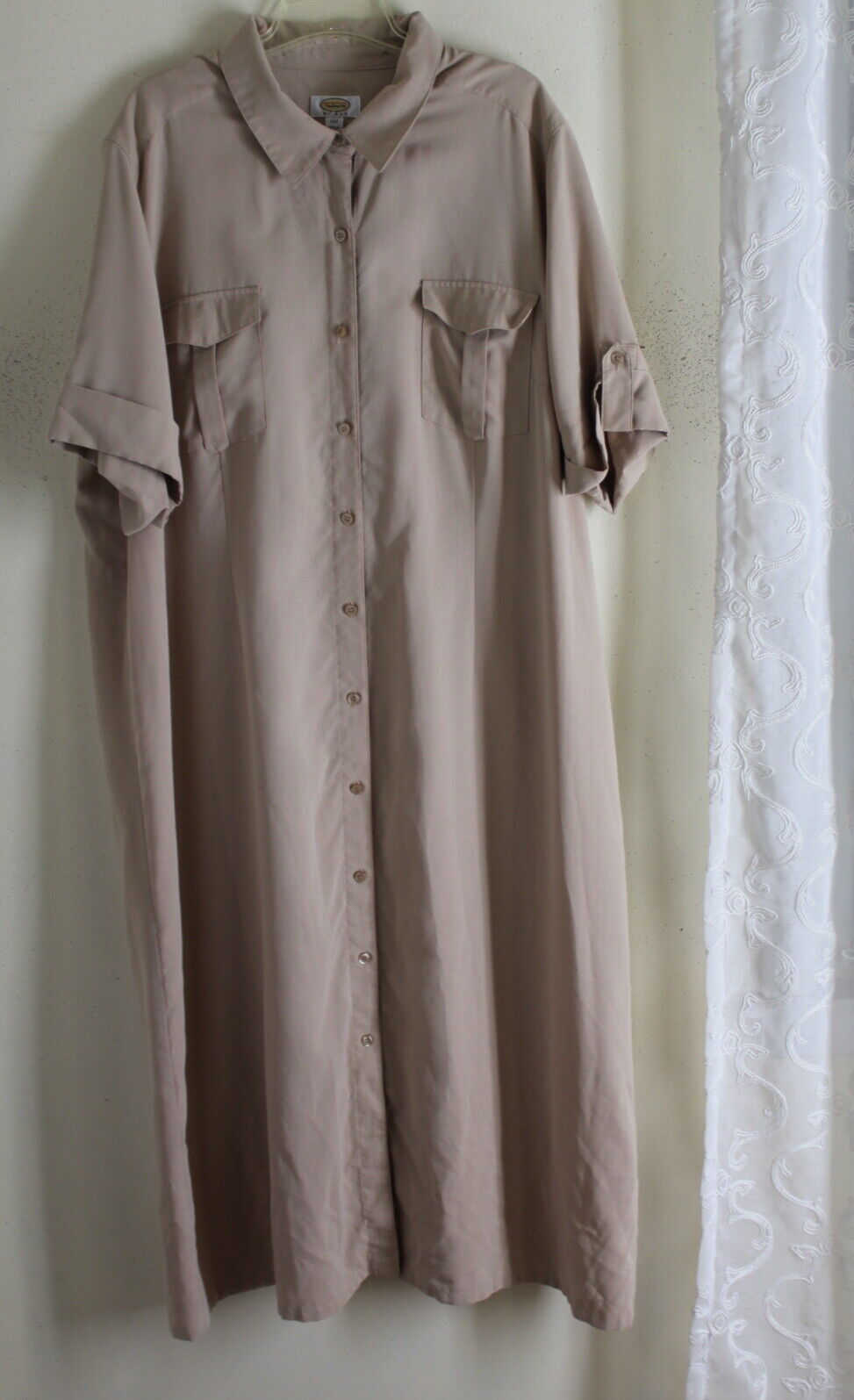 Talbots -Sz 24W 2X 3X Exquisite Long Khaki Woven Shirt Dress 52  Long