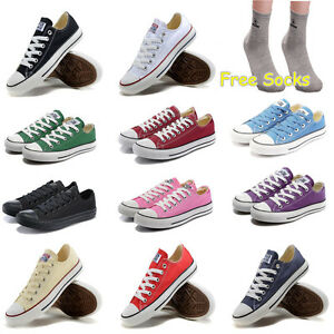 Men-Women-Sneakers-Low-Top-Casual-Canvas-Chuck-Taylor-Athletic-Shoes-Socks