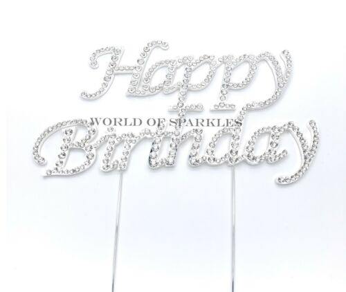 Silver Happy Birthday Large Diamante Diamond Cake Topper for Birthday Party