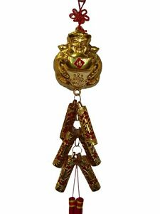 Feng Shui Chinese New Year Charm - Wealthy God with Lucky Firecrackers
